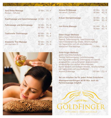 Flyer Goldfinger-Thaimassage, innen